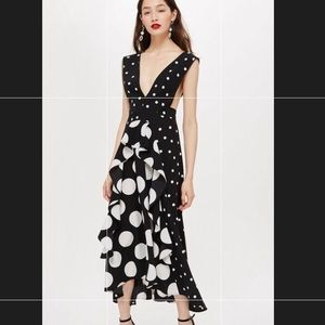 SOLDOUT topshop spotted pinafore mididress sz2 NWT